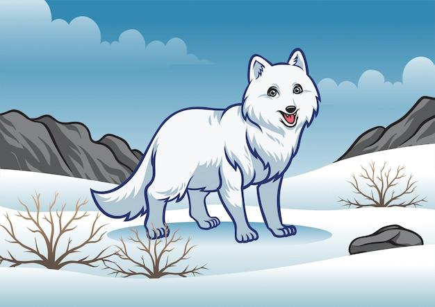 Zorro ártico en el invierno nevado