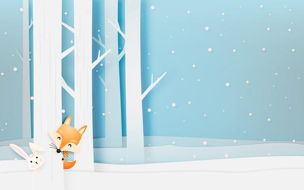 El zorro y el conejo lindos en la madera con esquema del estilo del arte de papel vector el ejemplo