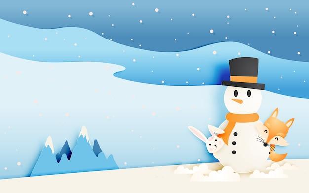 El zorro y el conejo lindos con el muñeco de nieve en esquema del estilo del arte de papel vector el ejemplo