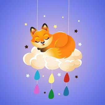 Zorro durmiendo en una nube con gotas de colores y estrellas