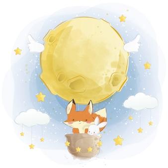 Zorro lindo y conejito volando con globo de aire de luna