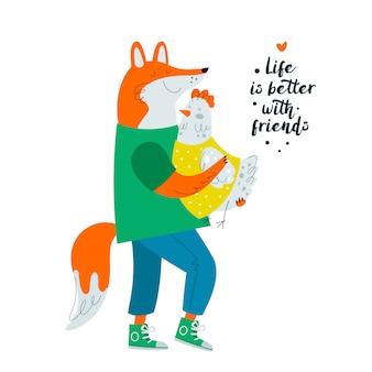 Zorro y pollo. amistad, amigos. ilustración de personajes de animales lindos