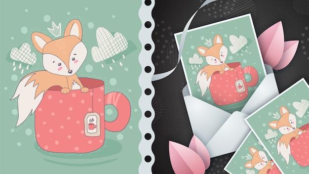 Zorro rojo para tarjeta de felicitación e ilustración