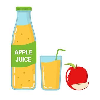 Zumo de manzana recién exprimido en botellas de vidrio de la etiqueta y en un vaso con un túbulo. una fruta madura con un segmento.