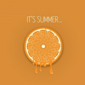 Zumo de naranja de una rebanada de verano vactor banner fondo