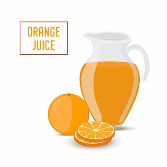 Zumo de naranja en tarro de cristal transparente y naranja.