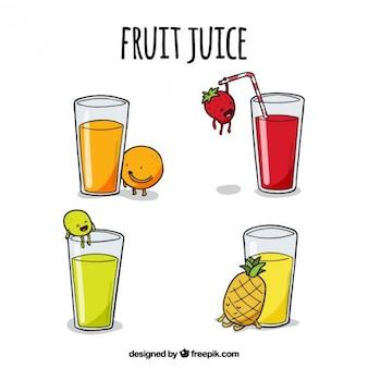 Zumos de frutas deliciosos dibujados a mano