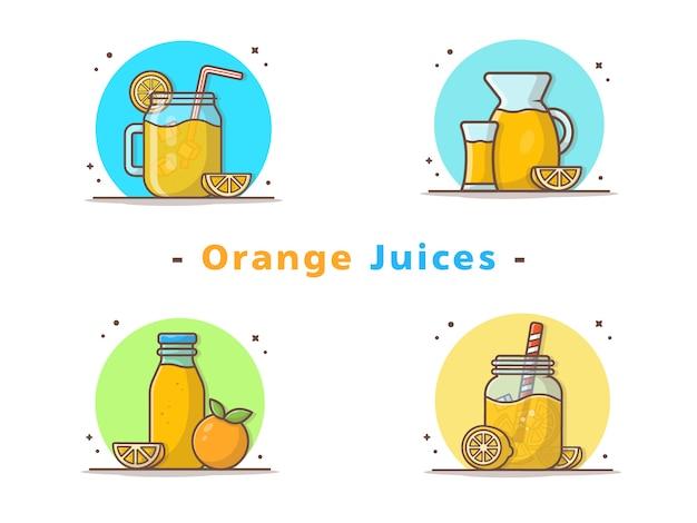 Zumos de naranja y rodajas de naranja iconos