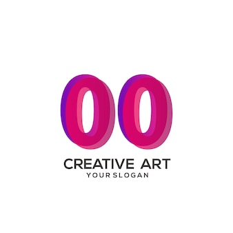 00 nummer logo farbverlauf design bunt