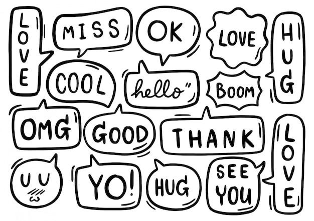 0142 handgezeichneter satz der niedlichen sprechblase mit text im gekritzelstil