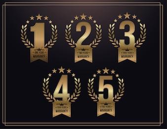1, 2, 3, 4, 5 Jahre Garantie Hintergrund mit goldenen Band und Olivenzweig