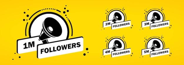 1 2 3 4 5 millionen follower icon-set. konzept der social-media-nutzer. bloggen. vektor auf weißem hintergrund isoliert. eps 10.