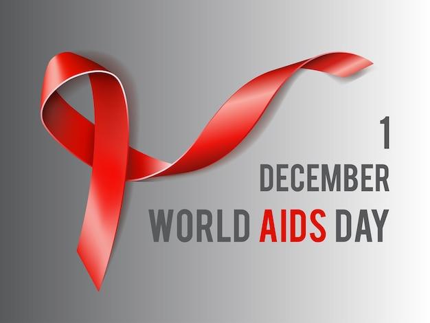 1. dezember welt-aids-tag-konzept mit text und rotem band des aids-bewusstseins