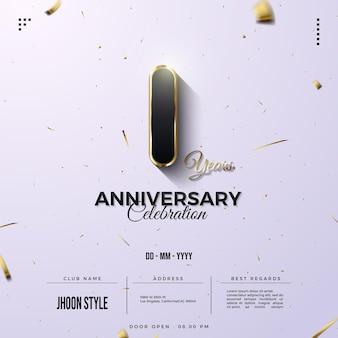 1. jahrestag einladungshintergrund mit luxusgoldnummer