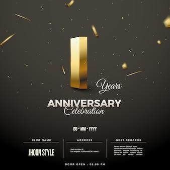 1. jahrestag einladungshintergrund mit sonderedition goldnummern