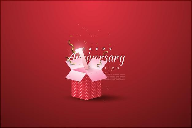 1. jahrestag mit numerischer illustration auf der geschenkbox.
