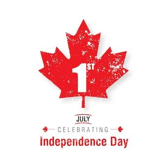 1. juli glücklicher kanada-tag kanada-flaggen-blatt auf weißem hintergrund