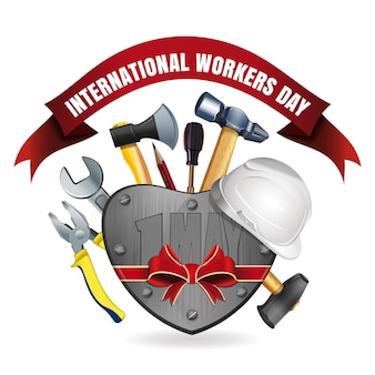 1. mai. happy international workers day grußkarte