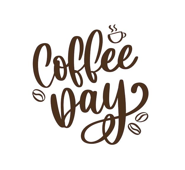 1. oktober internationaler kaffeetag schriftzug