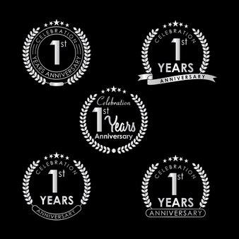 1 years anniversary celebration label mit lorbeerkranz