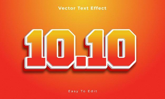 10 10 bearbeitbarer 3d-texteffekt premium-vektor premium-vektor