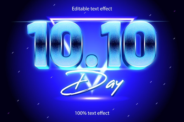 10,10 tage bearbeitbarer texteffekt retro mit neon-stil