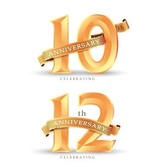 10. 12. jahrestag, der klassisches goldlogo auf weißer hintergrundvektorillustration feiert