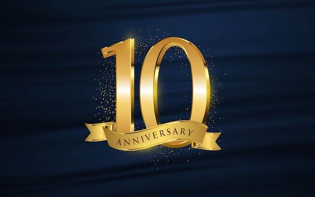10-jähriges jubiläum mit illustrationen 3d figuren gold tapete / hintergrund