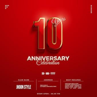 10-jähriges jubiläum mit original roter farbe