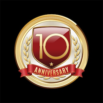 10 jahre jubiläum emblem illustration