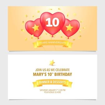 10 jahre jubiläumseinladungsvektorillustration. design-vorlagenelement mit elegantem romantischem hintergrund für die 10. ehe-, hochzeits- oder geburtstagskarte, partyeinladung