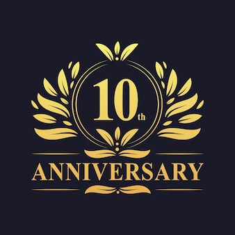 10 jahre jubiläumslogo, luxuriöse designfeier zum 10. jubiläum.