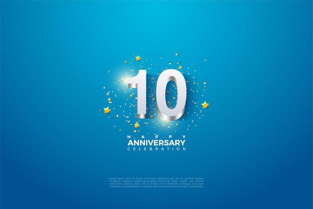 10. jahrestag mit den auf blauem hintergrund geprägten 3d-zahlen