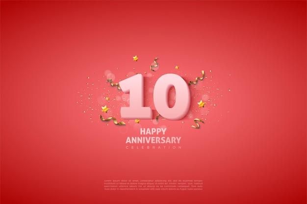 10. jahrestag mit zahlen und kleinen sternen auf rosa hintergrund