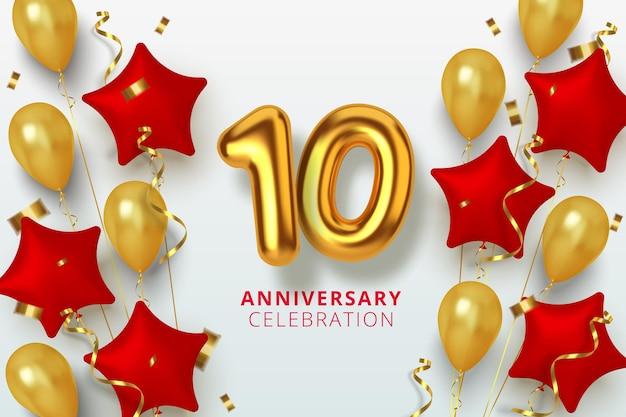 10. jubiläumsfeier nummer in form eines sterns aus goldenen und roten luftballons. realistische 3d-goldzahlen und funkelndes konfetti, serpentin.