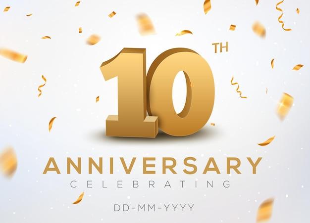 10 jubiläumsgoldzahlen mit goldenem konfetti. feier 10 jähriges jubiläum