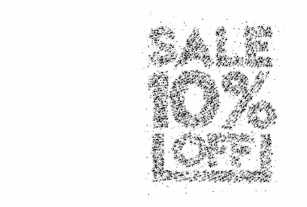 10% rabatt auf den sale-rabatt-partikel-design-banner. rabattangebot preisschild. vektor-moderne aufkleber-illustration.