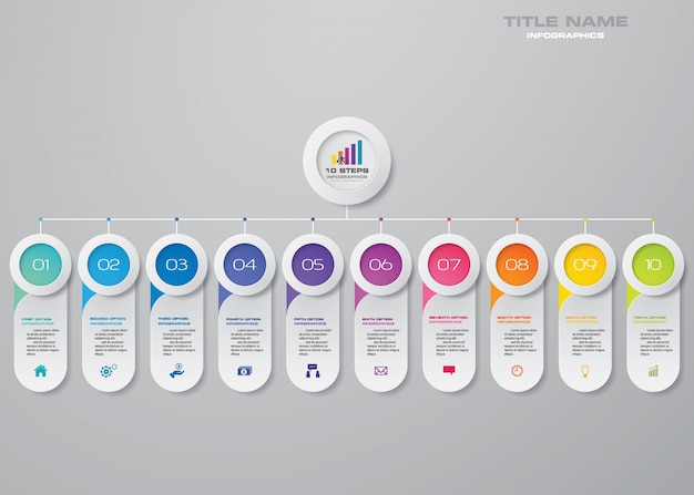 10 schritte diagramm infografiken elemente