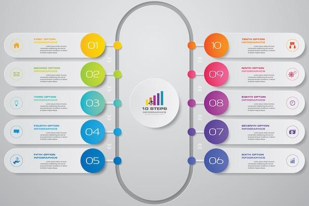 10 schritte einfaches & editierbares prozessdiagramm infographics element.