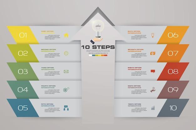 10 schritte infographics element pfeil vorlage diagramm.