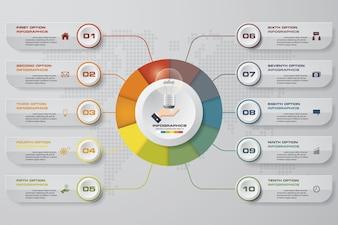 10 Schritte Infographics Vorlage für die Präsentation.