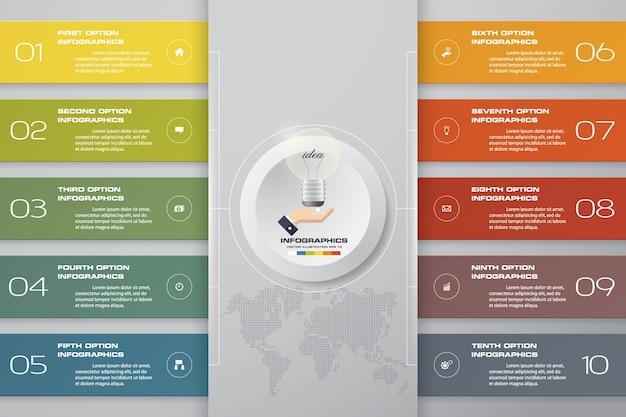 10 schritte moderne diagramm infographics elemente.