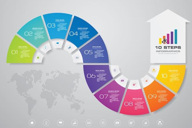 10 schritte pfeil infografik diagramm.