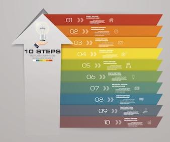 10 Schritte Pfeil Infografik Vorlage für die Präsentation.