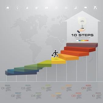 10 schritte treppe infographik element für die präsentation.