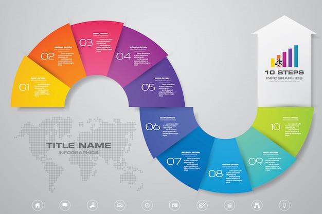 10 schritte von pfeil infografiken vorlage.