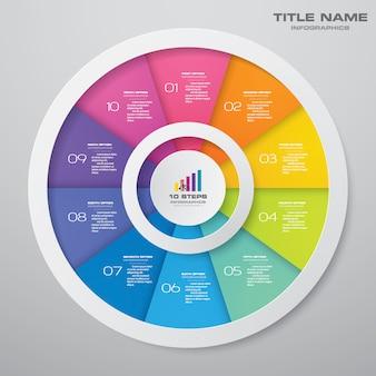 10-schritte-zyklusdiagramm-infografiken. eps 10.