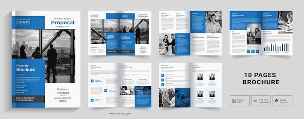 10-seitiges abstract-broschüren-designfirmenprofil-broschüren-designhalffold-broschürebi-fold-broschüre