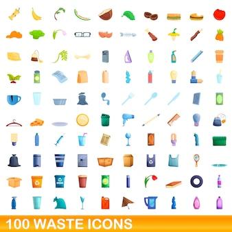 100 abfallsymbole gesetzt. karikaturillustration von 100 abfallikonen eingestellt lokalisiert