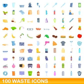 100 abfallsymbole gesetzt. karikaturillustration von 100 abfallikonenvektorsatz lokalisiert auf weißem hintergrund